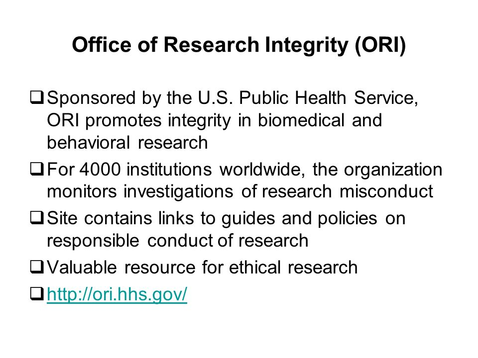 Office of Research Integrity (ORI) Sponsored by the U.S.