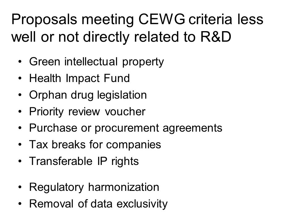 Proposals meeting CEWG criteria less well or not directly related to R&D Green intellectual property Health Impact Fund Orphan drug legislation Priori