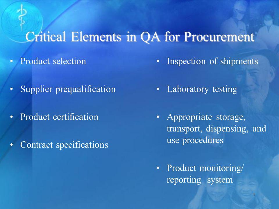 28 Product Selection Procurement Storage/distribution Use Prod.Specs.