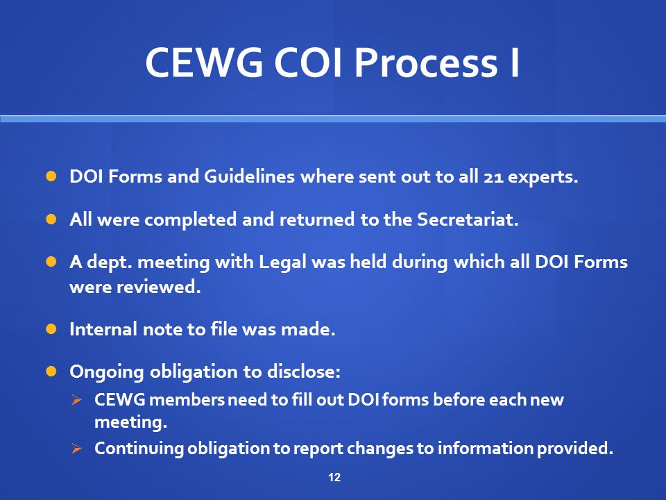 12 CEWG COI Process I DOI Forms and Guidelines where sent out to all 21 experts.