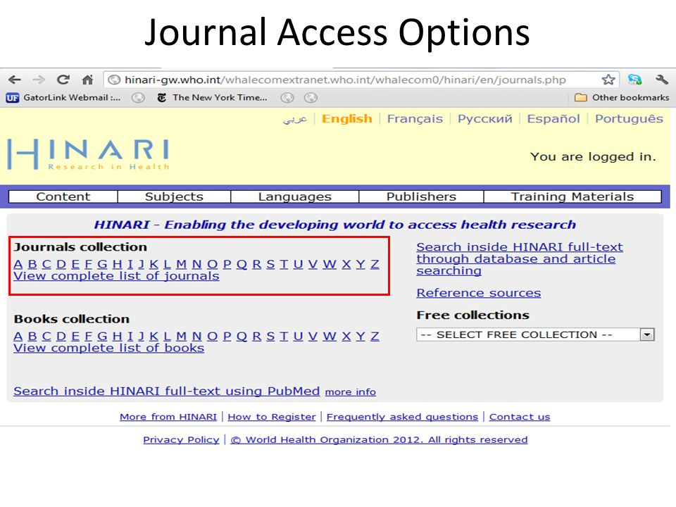 Journal Access Options