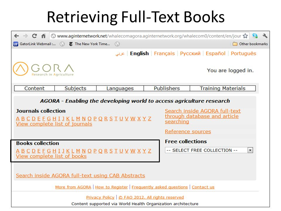 Retrieving Full-Text Books