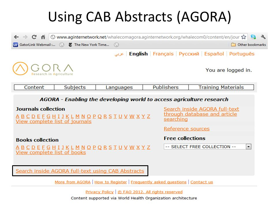 Using CAB Abstracts (AGORA)