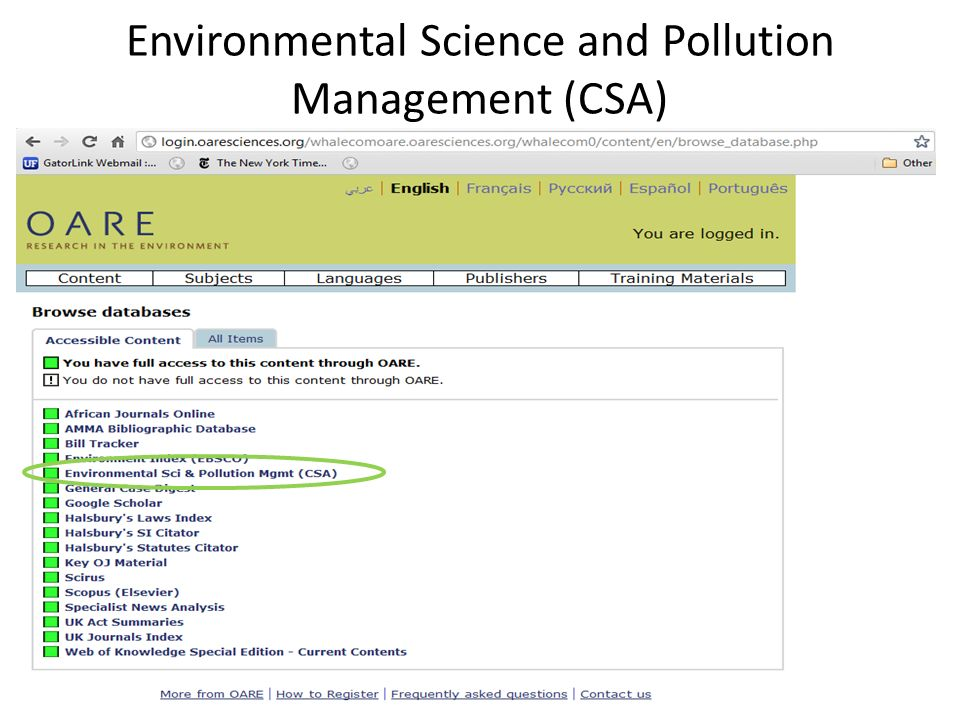 Environmental Science and Pollution Management (CSA)