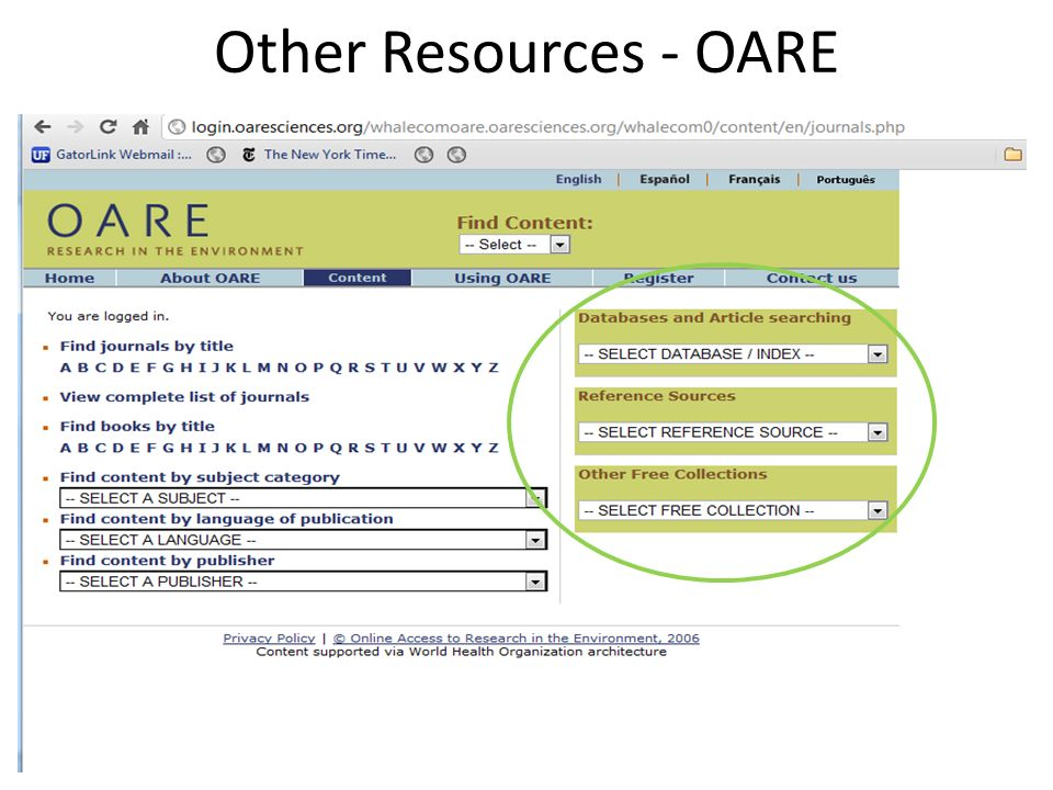 Other Resources - OARE