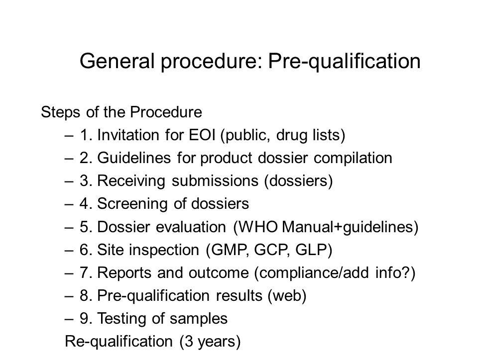 General procedure: Pre-qualification Steps of the Procedure –1.