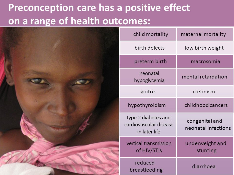 Preconception care has a positive effect on a range of health outcomes: hypothyroidism childhood cancers vertical transmission of HIV/STIs underweight and stunting reduced breastfeeding type 2 diabetes and cardiovascular disease in later life child mortalitymaternal mortality preterm birth macrosomia neonatal hypoglycemia birth defectslow birth weight goitre cretinism diarrhoea mental retardation congenital and neonatal infections