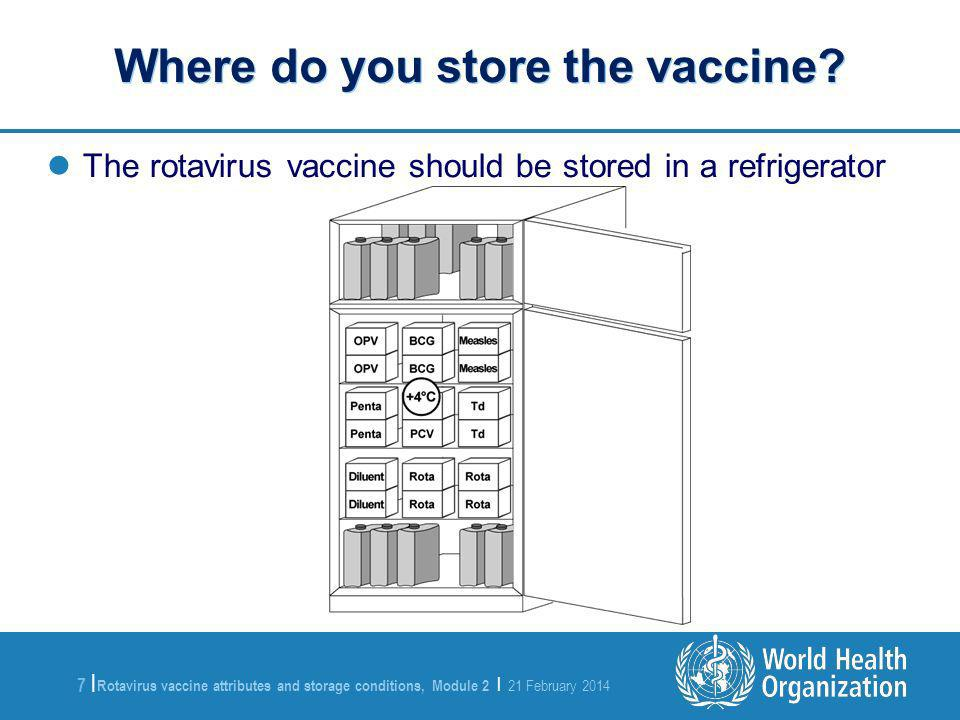Rotavirus vaccine attributes and storage conditions, Module 2 | 21 February 2014 7 |7 | The rotavirus vaccine should be stored in a refrigerator Where