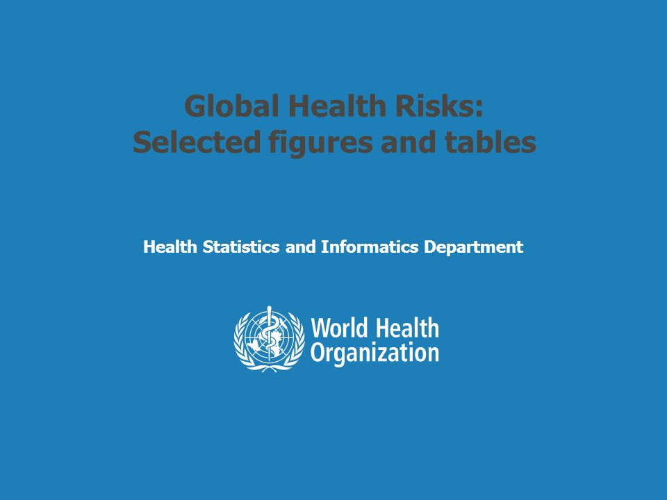 Health Statistics and Informatics Leading causes of attributable global mortality and burden of disease, 2004 % 1.High blood pressure 12.8 2.Tobacco use8.7 3.High blood glucose 5.8 4.Physical inactivity 5.5 5.Overweight and obesity 4.8 6.High cholesterol 4.5 7.Unsafe sex 4.0 8.Alcohol use3.8 9.Childhood underweight 3.8 10.Indoor smoke from solid fuels 3.3 59 million total global deaths in 2004 % 1.Childhood underweight 5.9 2.Unsafe sex4.6 3.Alcohol use4.5 4.Unsafe water, sanitation, hygiene 4.2 5.High blood pressure3.7 6.Tobacco use3.7 7.Suboptimal breastfeeding 2.9 8.High blood glucose 2.7 9.Indoor smoke from solid fuels 2.7 10.Overweight and obesity 2.3 1.5 billion total global DALYs in 2004 Attributable MortalityAttributable DALYs
