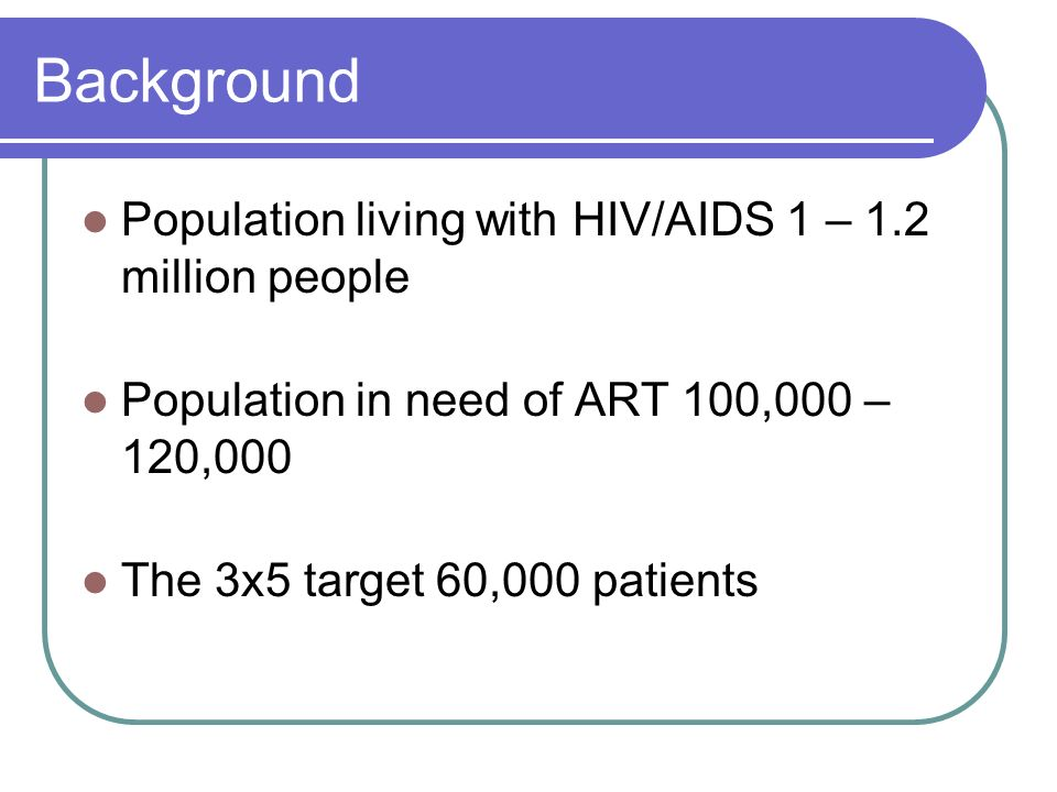 Background Population living with HIV/AIDS 1 – 1.2 million people Population in need of ART 100,000 – 120,000 The 3x5 target 60,000 patients