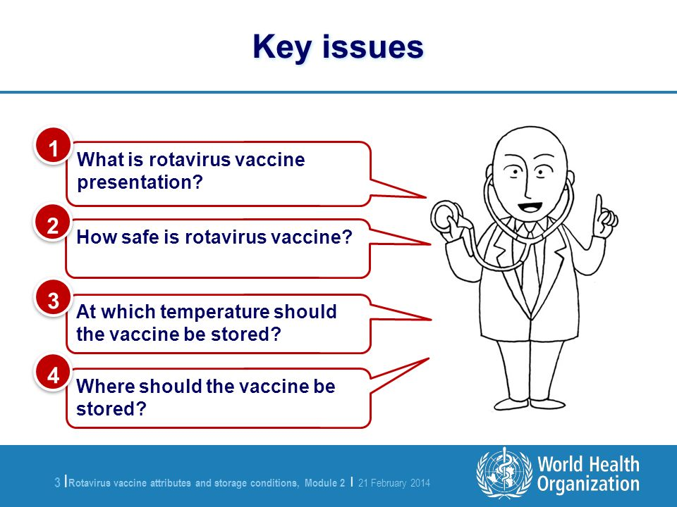 Rotavirus vaccine attributes and storage conditions, Module 2 | 21 February 2014 3 |3 | What is rotavirus vaccine presentation? 1 1 At which temperatu