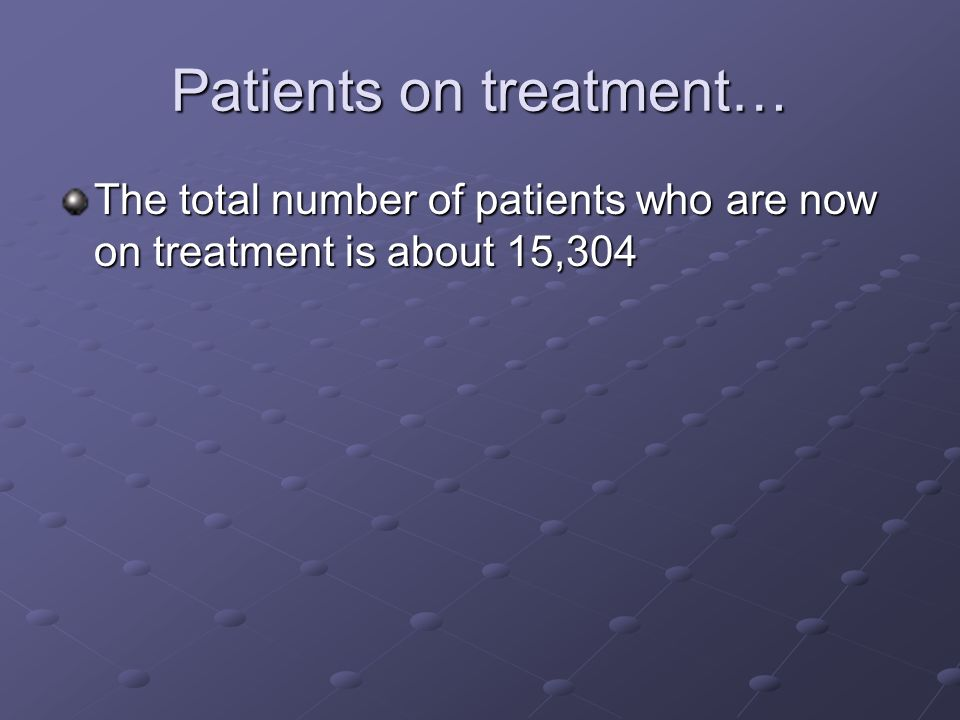 Patients on treatment… The total number of patients who are now on treatment is about 15,304