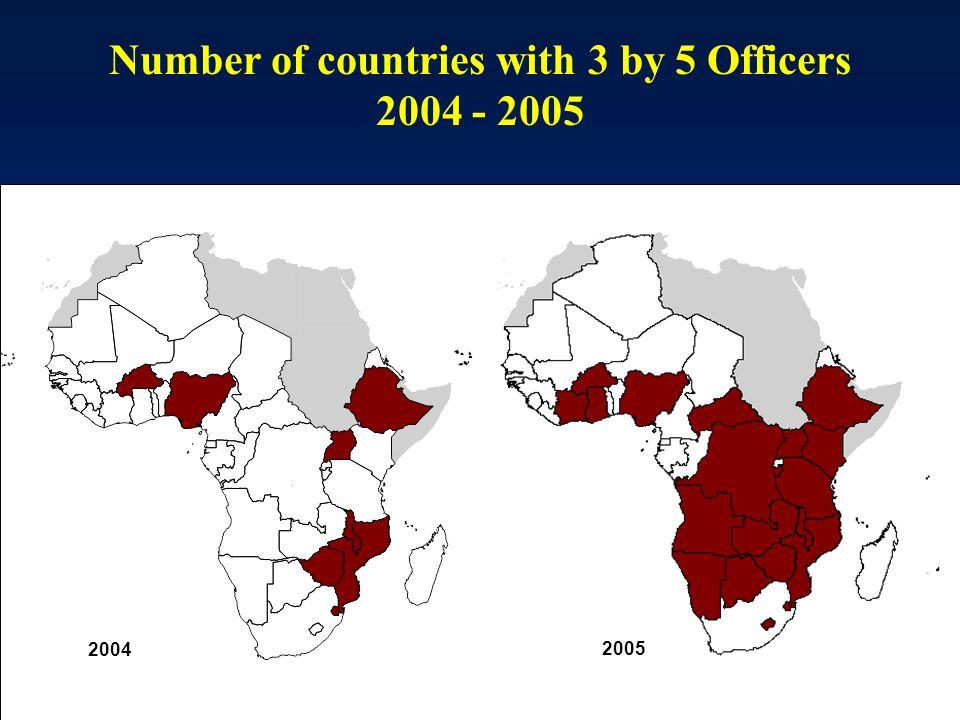 Number of countries with 3 by 5 Officers 2004 - 2005 2004 2005