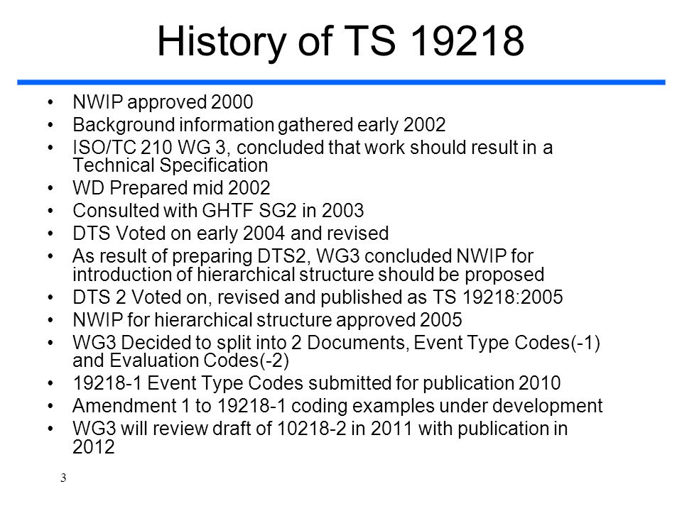 3 History of TS 19218 NWIP approved 2000 Background information gathered early 2002 ISO/TC 210 WG 3, concluded that work should result in a Technical