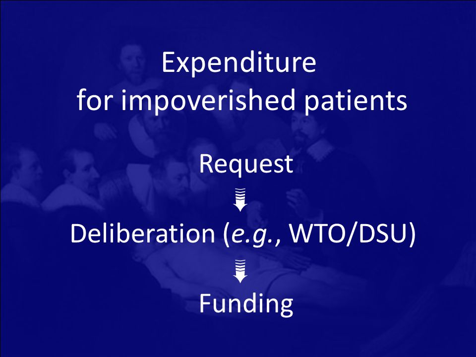 Expenditure for impoverished patients Request Deliberation (e.g., WTO/DSU) Funding