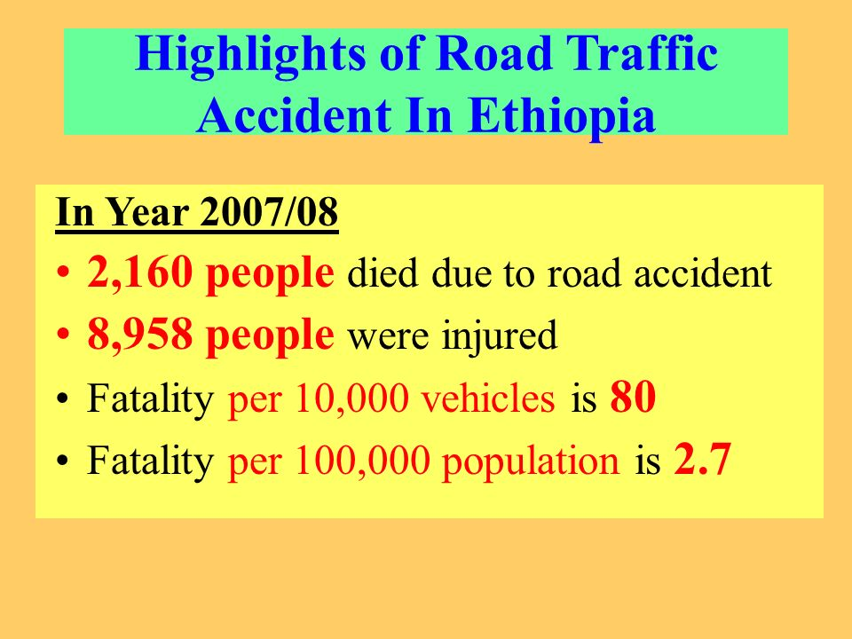 Highlights of Road Traffic Accident In Ethiopia In Year 2007/08 2,160 people died due to road accident 8,958 people were injured Fatality per 10,000 vehicles is 80 Fatality per 100,000 population is 2.7