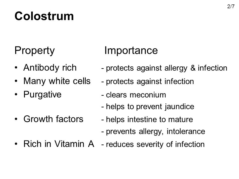 Colostrum Property Importance Antibody rich - protects against allergy & infection Many white cells - protects against infection Purgative - clears meconium - helps to prevent jaundice Growth factors - helps intestine to mature - prevents allergy, intolerance Rich in Vitamin A - reduces severity of infection 2/7
