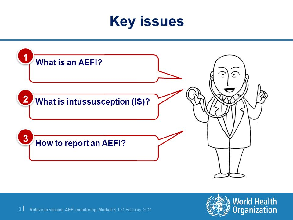Rotavirus vaccine AEFI monitoring, Module 6 I 21 February 2014 3 |3 | What is an AEFI? 1 1 What is intussusception (IS)? 2 2 Key issues How to report