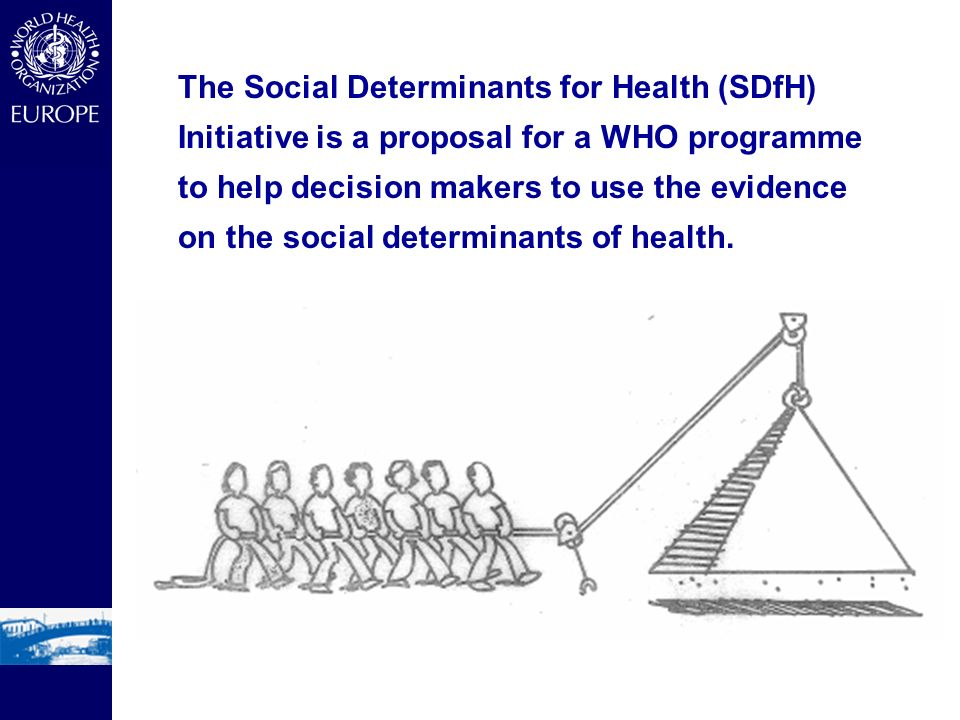 The Social Determinants for Health (SDfH) Initiative is a proposal for a WHO programme to help decision makers to use the evidence on the social deter
