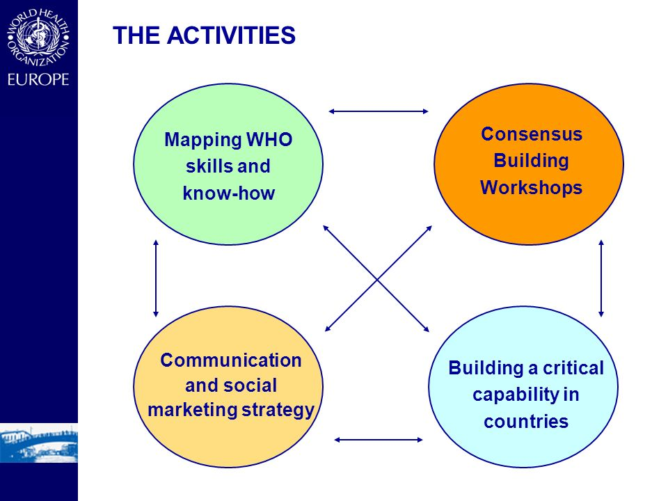 THE ACTIVITIES Mapping WHO skills and know-how Consensus Building Workshops Building a critical capability in countries Communication and social marketing strategy