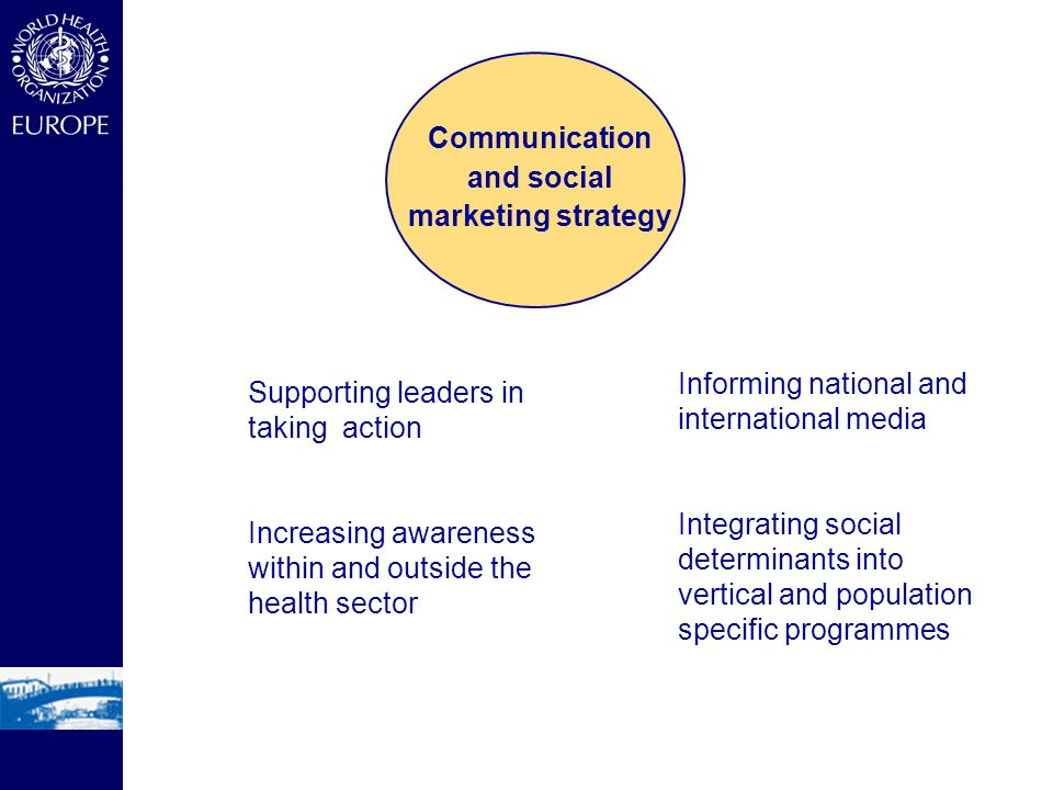 Supporting leaders in taking action Increasing awareness within and outside the health sector Informing national and international media Integrating social determinants into vertical and population specific programmes Communication and social marketing strategy