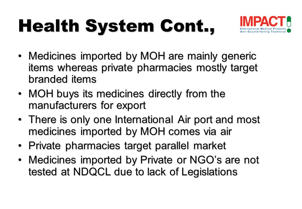 In the past years there were no seizure of counterfeit medicinesIn the past years there were no seizure of counterfeit medicines –No Legislation in place –Inadequate drug registration system –Absence of CM in the country Seychelles is not aware of the WHOs Rapid Alert System Definition of counterfeit medical product used in Seychelles