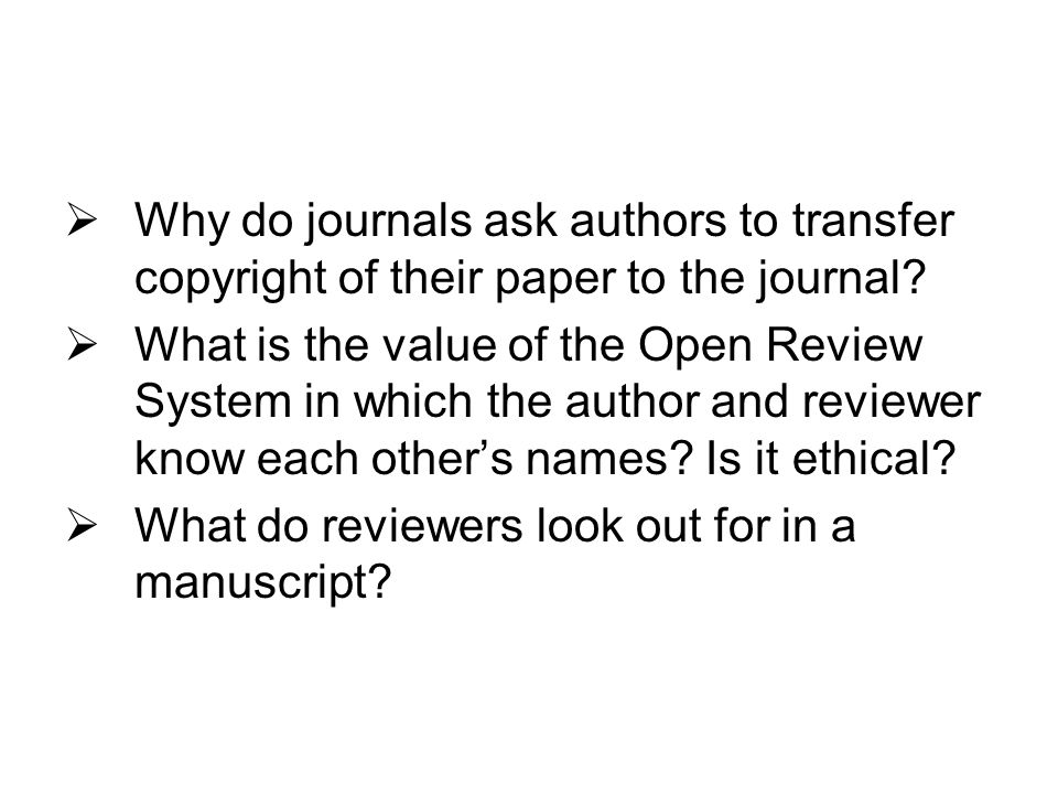 Why do journals ask authors to transfer copyright of their paper to the journal.