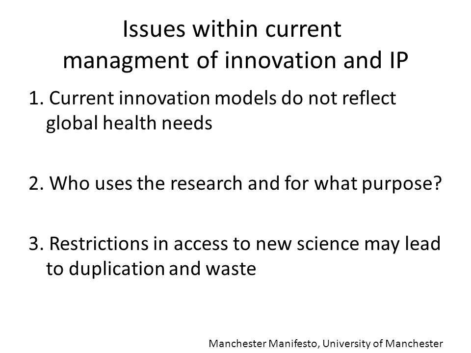 1. Current innovation models do not reflect global health needs 2.