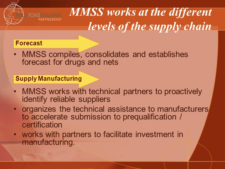 MMSS works at the different levels of the supply chain MMSS assists countries in preparing their procurement plans assist countries in identifying the products available (notably on the basis of quality assurance standards) manages the supply of some items tracks and maintains updates of procurement activities of various agencies maintains updates on production plans Procurement Orders Management