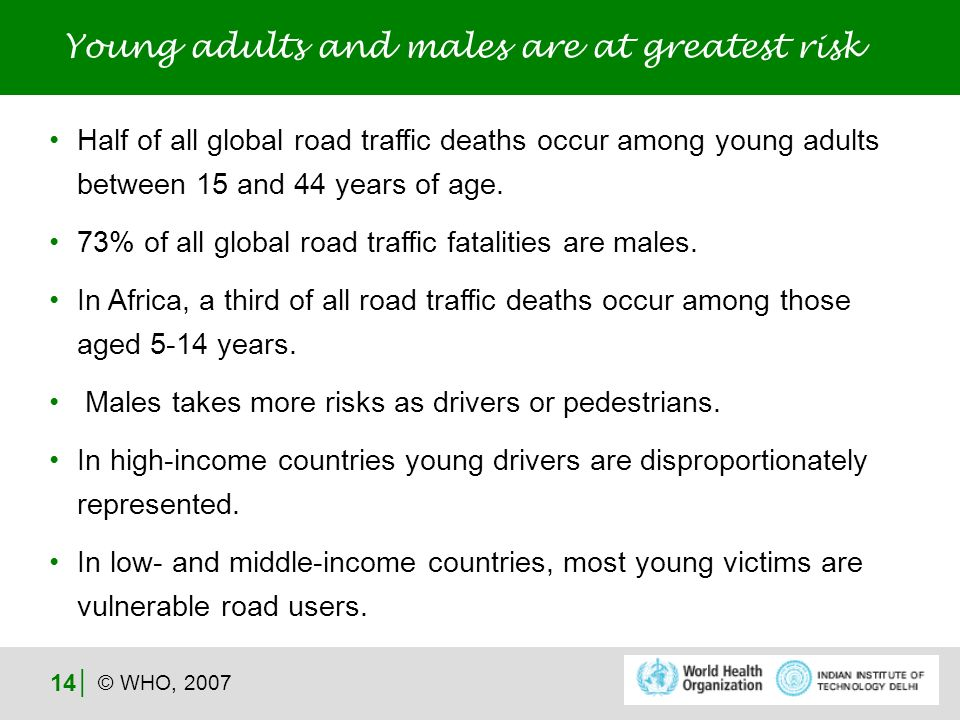 © WHO, 2007 14 Half of all global road traffic deaths occur among young adults between 15 and 44 years of age.
