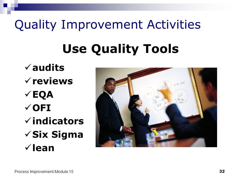 Process Improvement-Module 1532 Quality Improvement Activities Use Quality Tools audits reviews EQA OFI indicators Six Sigma lean