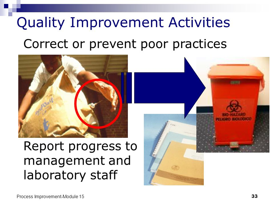 Process Improvement-Module 1533 Quality Improvement Activities Correct or prevent poor practices Report progress to management and laboratory staff