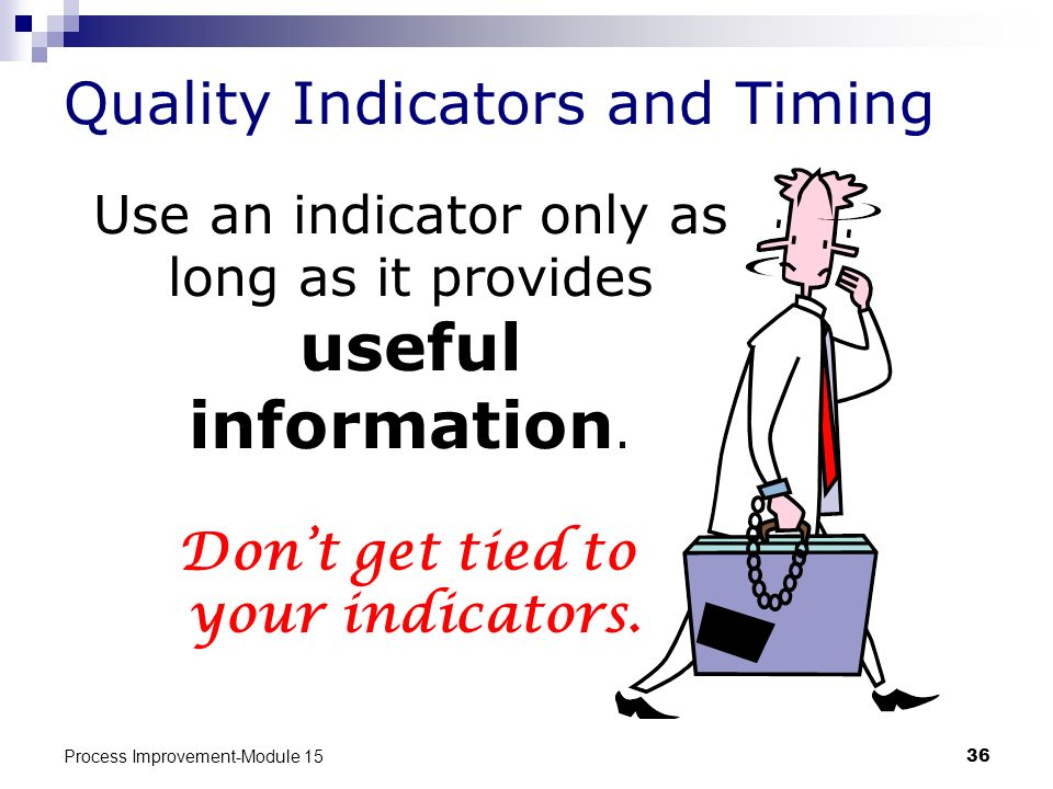 Process Improvement-Module 1536 Quality Indicators and Timing Use an indicator only as long as it provides useful information. Dont get tied to your i