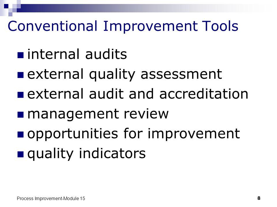Process Improvement-Module 158 Conventional Improvement Tools internal audits external quality assessment external audit and accreditation management