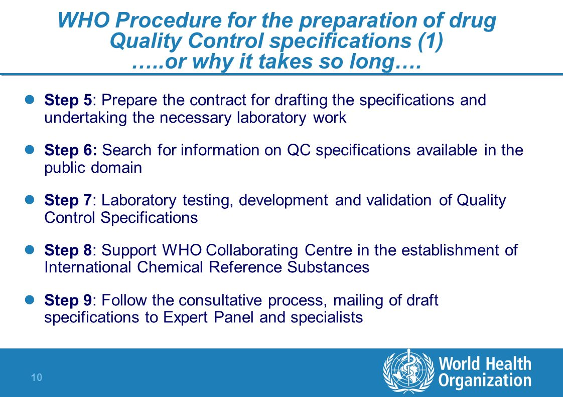 10 WHO Procedure for the preparation of drug Quality Control specifications (1) …..or why it takes so long…. Step 5: Prepare the contract for drafting
