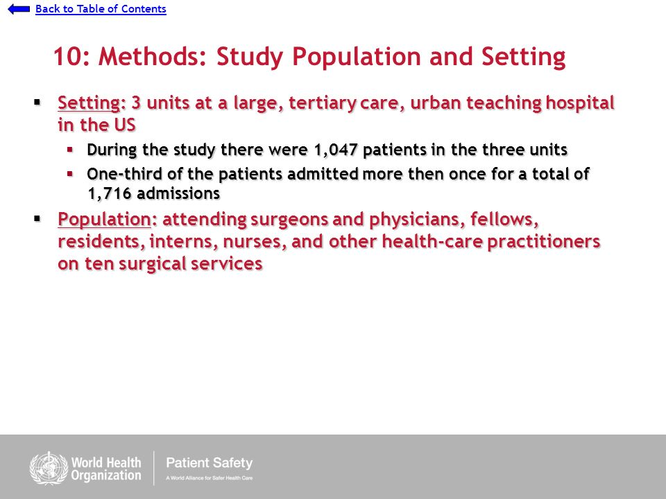 Presentation 7 - Understanding Causes: Ethnographic Study Back to Table of Contents 10: Methods: Study Population and Setting Setting: 3 units at a large, tertiary care, urban teaching hospital in the US Setting: 3 units at a large, tertiary care, urban teaching hospital in the US During the study there were 1,047 patients in the three units During the study there were 1,047 patients in the three units One-third of the patients admitted more then once for a total of 1,716 admissions One-third of the patients admitted more then once for a total of 1,716 admissions Population: attending surgeons and physicians, fellows, residents, interns, nurses, and other health-care practitioners on ten surgical services Population: attending surgeons and physicians, fellows, residents, interns, nurses, and other health-care practitioners on ten surgical services