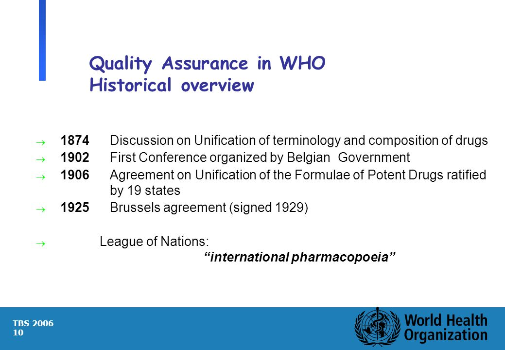 TBS 2006 10 Quality Assurance in WHO Historical overview 1874Discussion on Unification of terminology and composition of drugs 1902 First Conference o