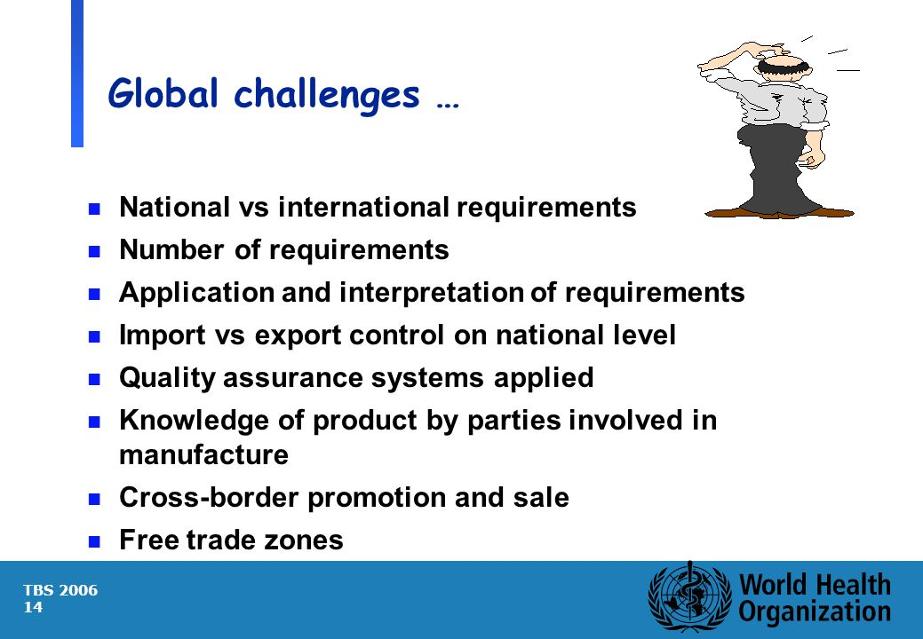 TBS 2006 14 Global challenges … n National vs international requirements n Number of requirements n Application and interpretation of requirements n I