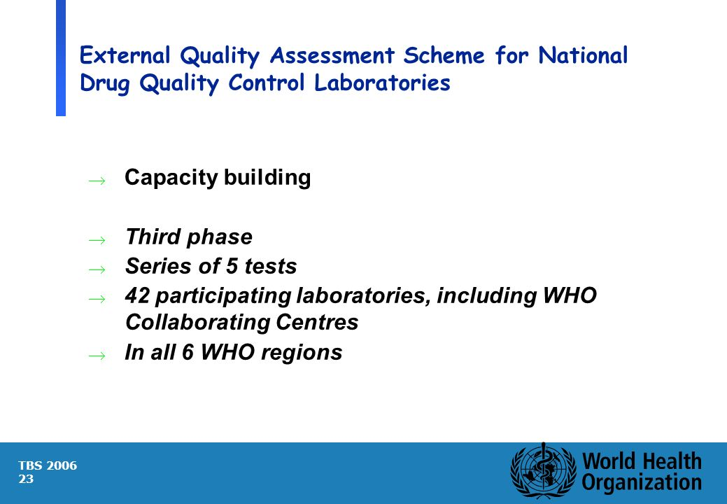 TBS 2006 23 External Quality Assessment Scheme for National Drug Quality Control Laboratories Capacity building Third phase Series of 5 tests 42 parti