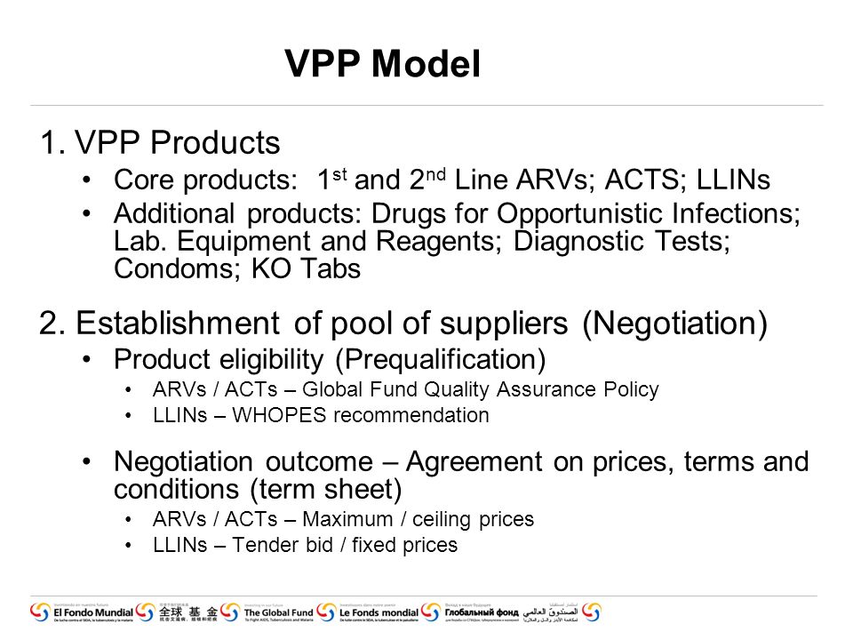 VPP Model 1.VPP Products Core products: 1 st and 2 nd Line ARVs; ACTS; LLINs Additional products: Drugs for Opportunistic Infections; Lab.