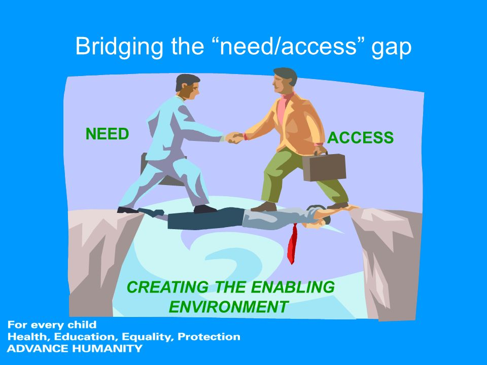 Bridging the need/access gap CREATING THE ENABLING ENVIRONMENT NEED ACCESS