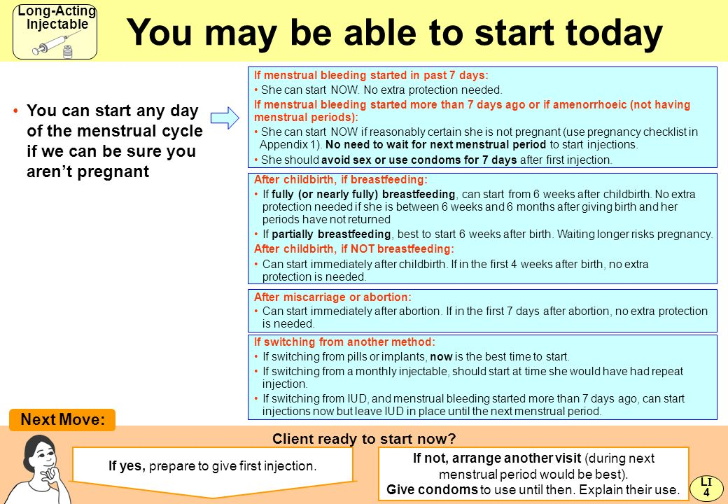 You may be able to start today Client ready to start now? Next Move: If yes, prepare to give first injection. If not, arrange another visit (during ne
