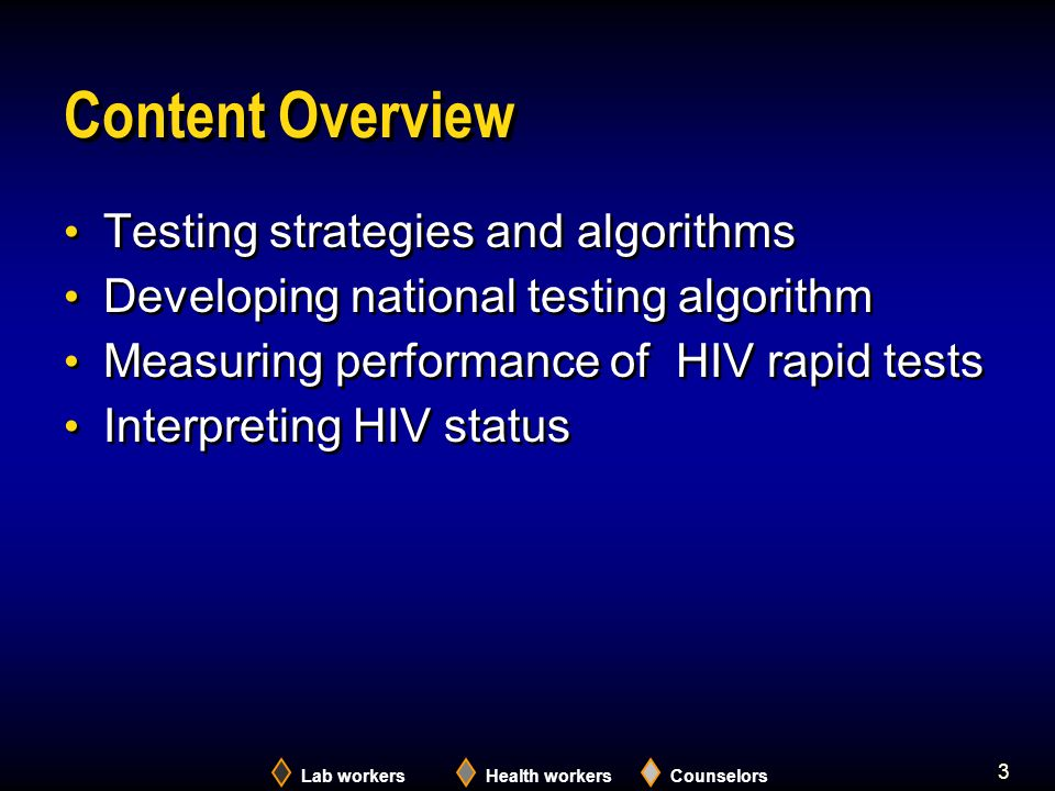 3 Content Overview Testing strategies and algorithms Developing national testing algorithm Measuring performance of HIV rapid tests Interpreting HIV status Testing strategies and algorithms Developing national testing algorithm Measuring performance of HIV rapid tests Interpreting HIV status Lab workersHealth workersCounselors