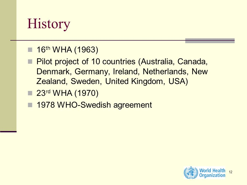 12 History 16 th WHA (1963) Pilot project of 10 countries (Australia, Canada, Denmark, Germany, Ireland, Netherlands, New Zealand, Sweden, United King