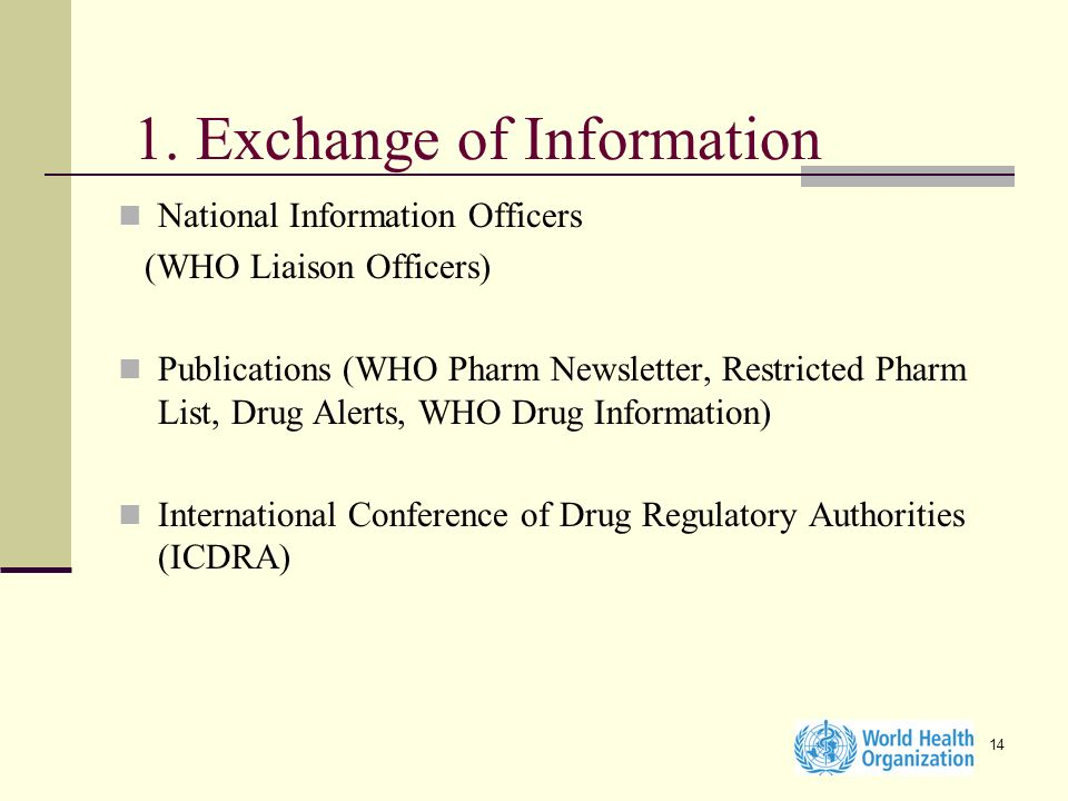 14 1. Exchange of Information National Information Officers (WHO Liaison Officers) Publications (WHO Pharm Newsletter, Restricted Pharm List, Drug Ale
