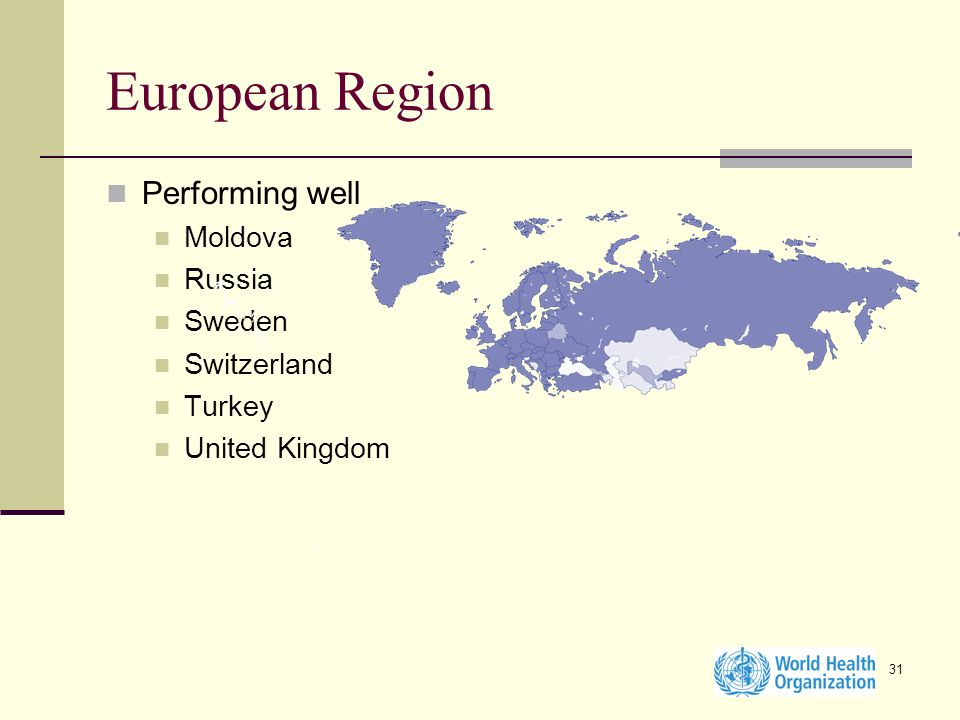 31 European Region Performing well Moldova Russia Sweden Switzerland Turkey United Kingdom