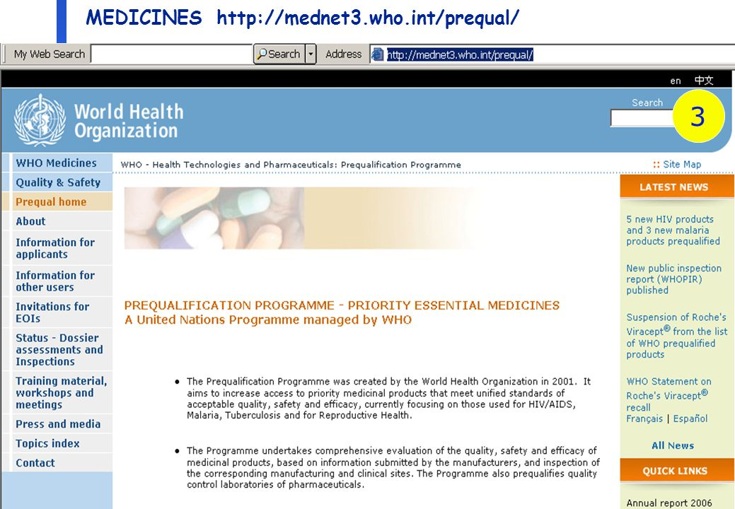 6 Department of Medicines Policy and Standards, Health Technology and Pharmaceuticals Prequalification of essential medicines The UN prequalification program is an action plan for expanding access for patients with HIV/AIDS Tuberculosis Malaria Reproductive health by ensuring quality, efficacy and safety of medicines procured using international funds (e.g.