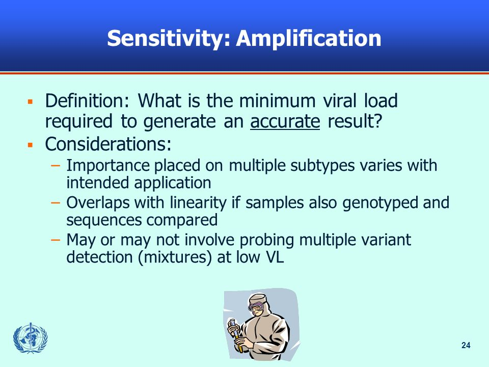 24 Sensitivity: Amplification Definition: What is the minimum viral load required to generate an accurate result.