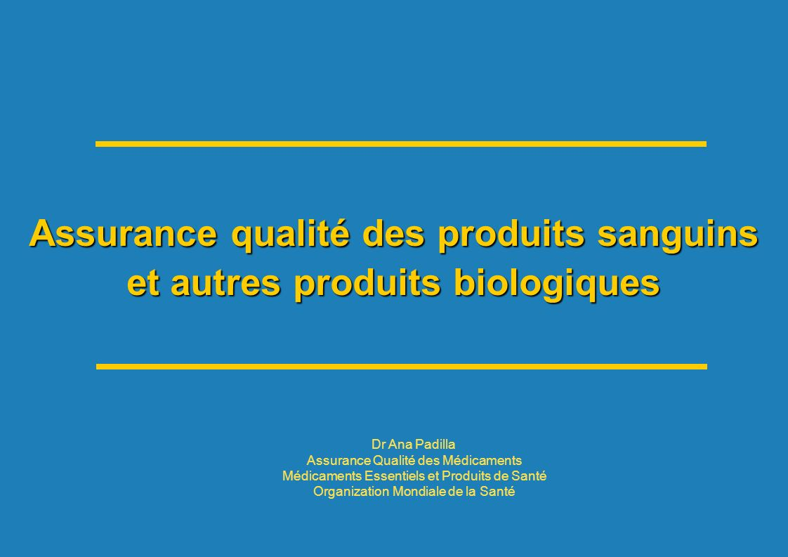 HSS/EMP/QSM: Séminaire francophone 2011 32 | WHO Guidelines and Recommendations ANIMAL DERIVED BLOOD PRODUCTS ANIMAL DERIVED BLOOD PRODUCTS WHO Guidelines on production, control and regulation of snake antivenom immunoglobulins WHO Database: clinically important venomous snakes species and its worldwide geographical distribution together with antivenoms for treatment of snakebite envenomings WHO website hosting both the Guidelines and database (maps, pictures, products, manufacturers) Cost-effective study to support access to antivenoms (2012)