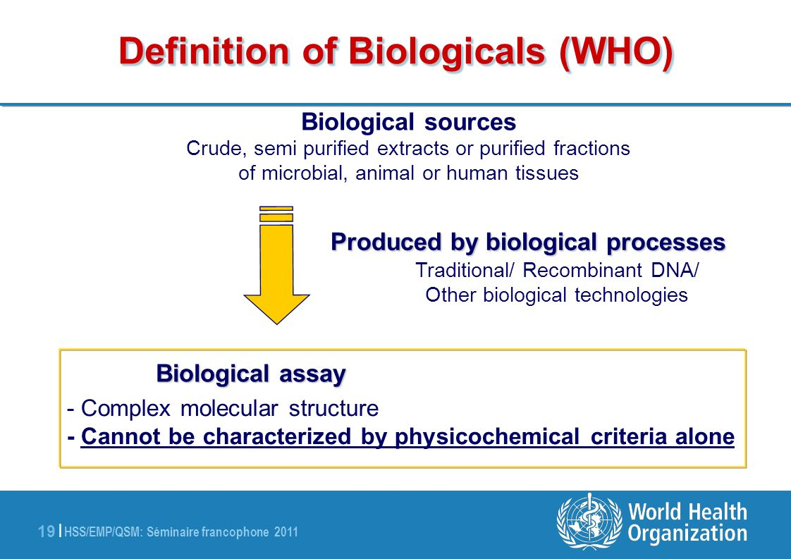 HSS/EMP/QSM: Séminaire francophone 2011 19 | Definition of Biologicals (WHO) Biological sources Crude, semi purified extracts or purified fractions of